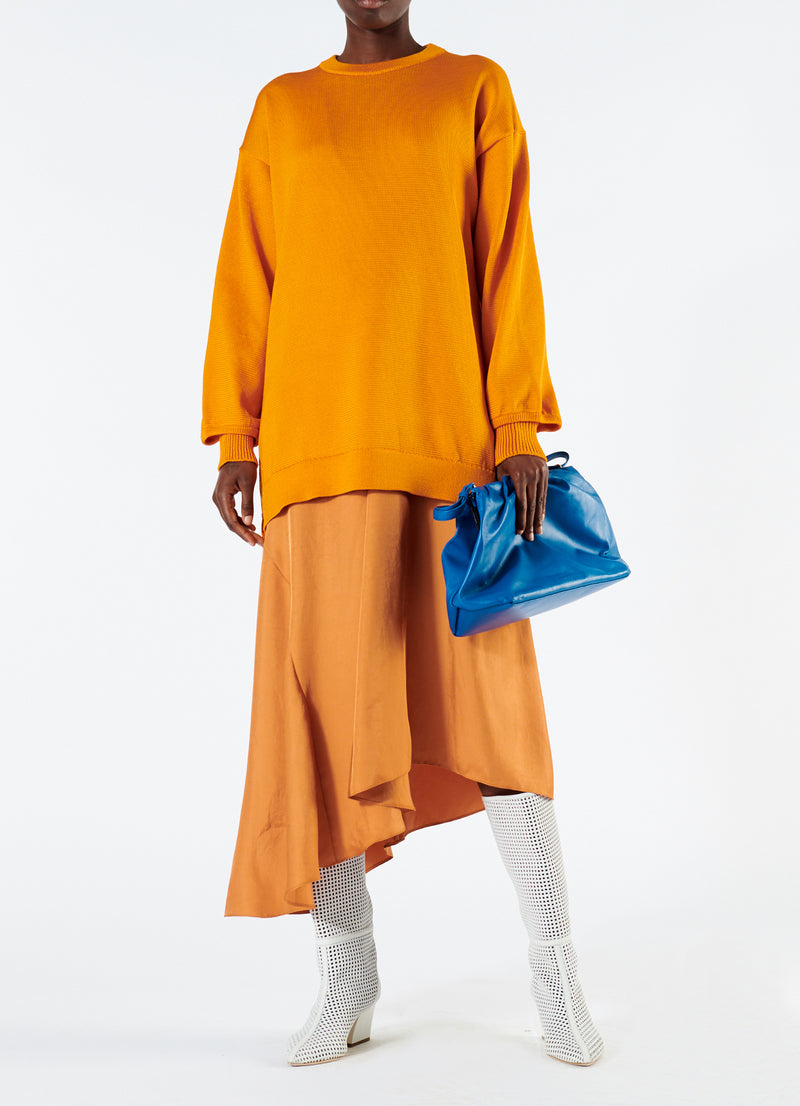 Corded Poly Oversized Tunic Sweater Marmalade-1