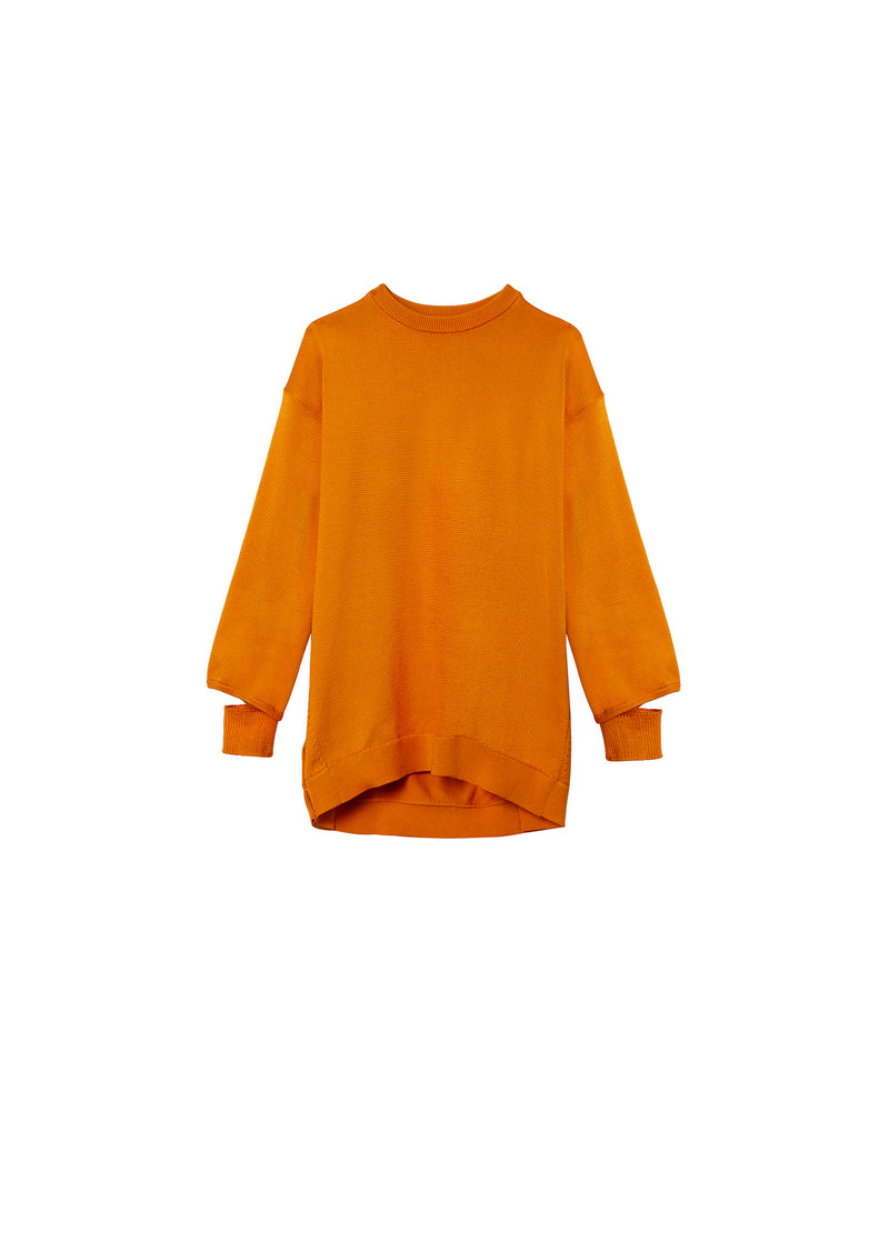 Corded Poly Oversized Tunic Sweater Marmalade-2