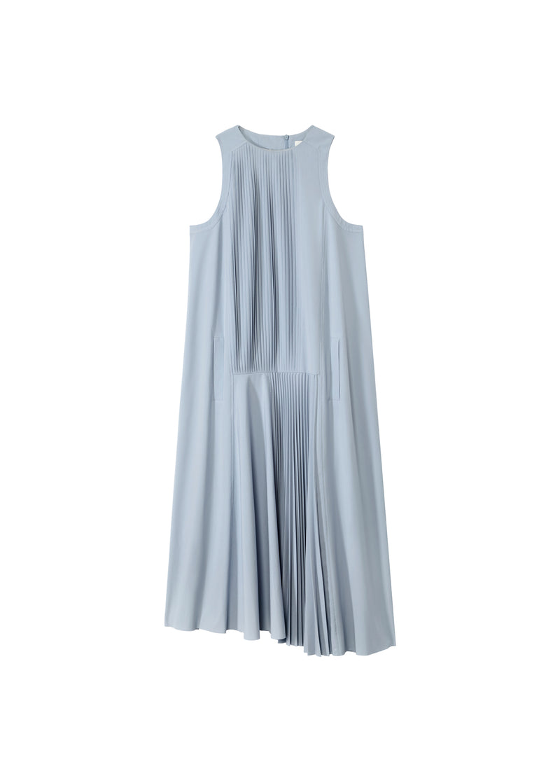 Edith Pleated Mini Sleeveless Dress Pebble Grey-2