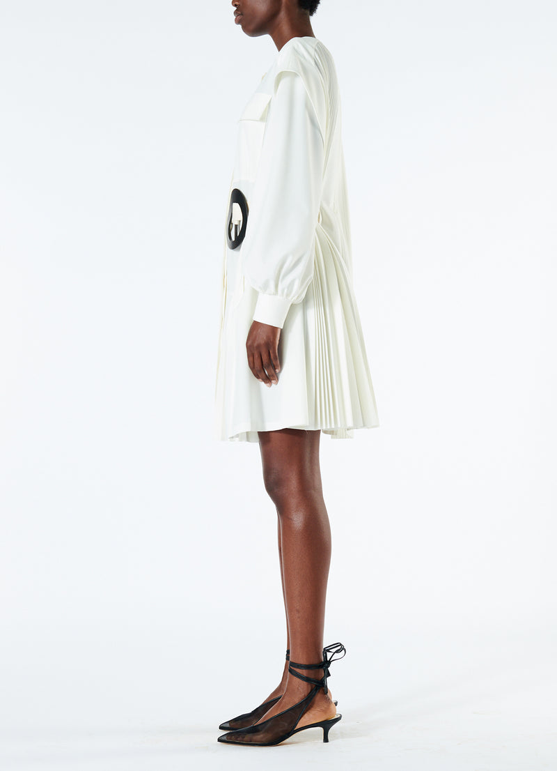 Edith Pleated Short Dress White-6