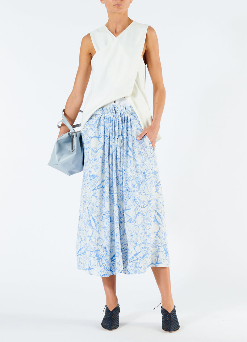 Isa Toile Double Waist Overlay Skirt White/Blue Multi-1