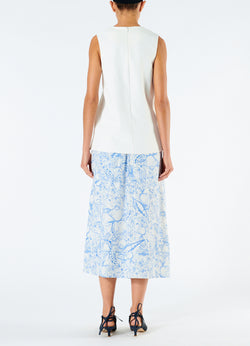 Isa Toile Double Waist Overlay Skirt White/Blue Multi-3