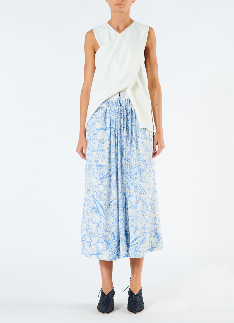 Isa Toile Double Waist Overlay Skirt White/Blue Multi-4