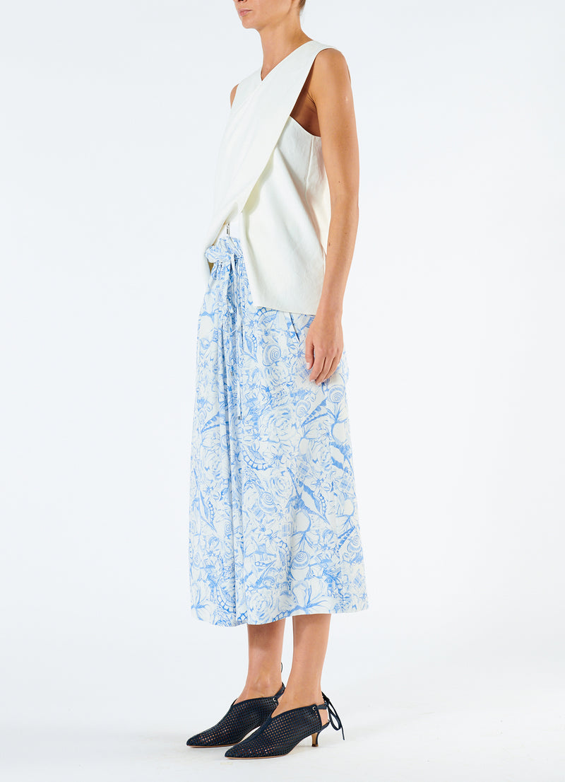 Isa Toile Double Waist Overlay Skirt White/Blue Multi-5
