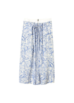 Isa Toile Double Waist Overlay Skirt White/Blue Multi-2
