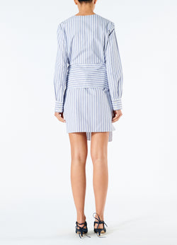 Liam Stripe V-Neck Shirtdress Blue Multi-3