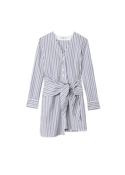 Liam Stripe V-Neck Shirtdress Blue Multi-2