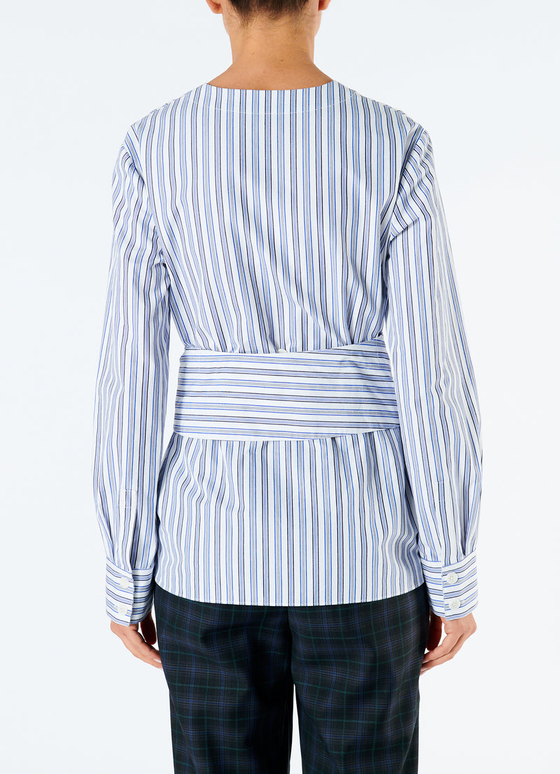 Liam Stripe V-Neck Shirt with Removable Tie Blue Multi-3