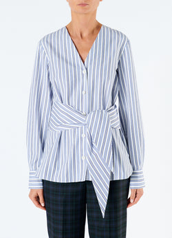 Liam Stripe V-Neck Shirt with Removable Tie Blue Multi-4