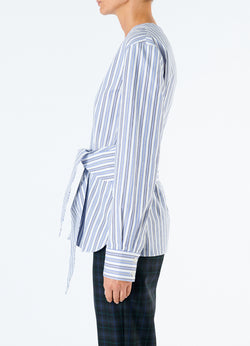 Liam Stripe V-Neck Shirt with Removable Tie Blue Multi-6