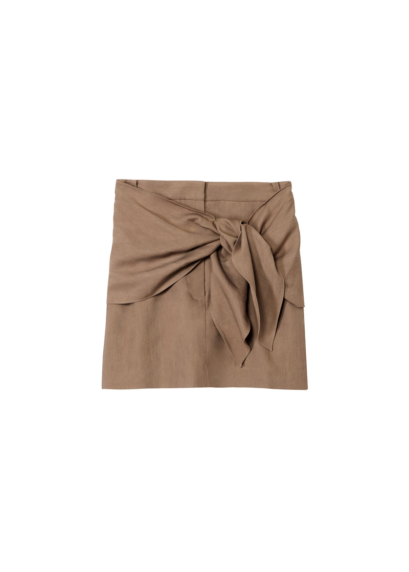 Linen Viscose Mini Skirt with Removable Tie Sable Brown-2