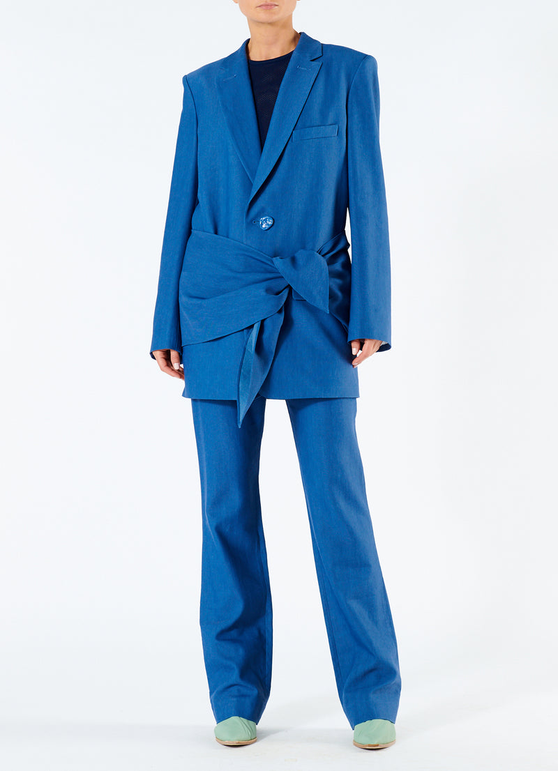Linen Viscose Long Blazer with Removable Tie Blue-1