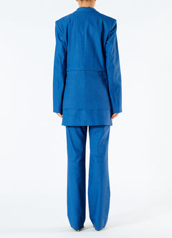 Linen Viscose Long Blazer with Removable Tie Blue-3