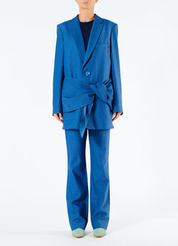 Linen Viscose Long Blazer with Removable Tie Blue-4