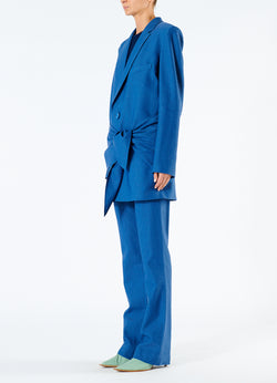 Linen Viscose Long Blazer with Removable Tie Blue-5