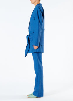 Linen Viscose Long Blazer with Removable Tie Blue-6