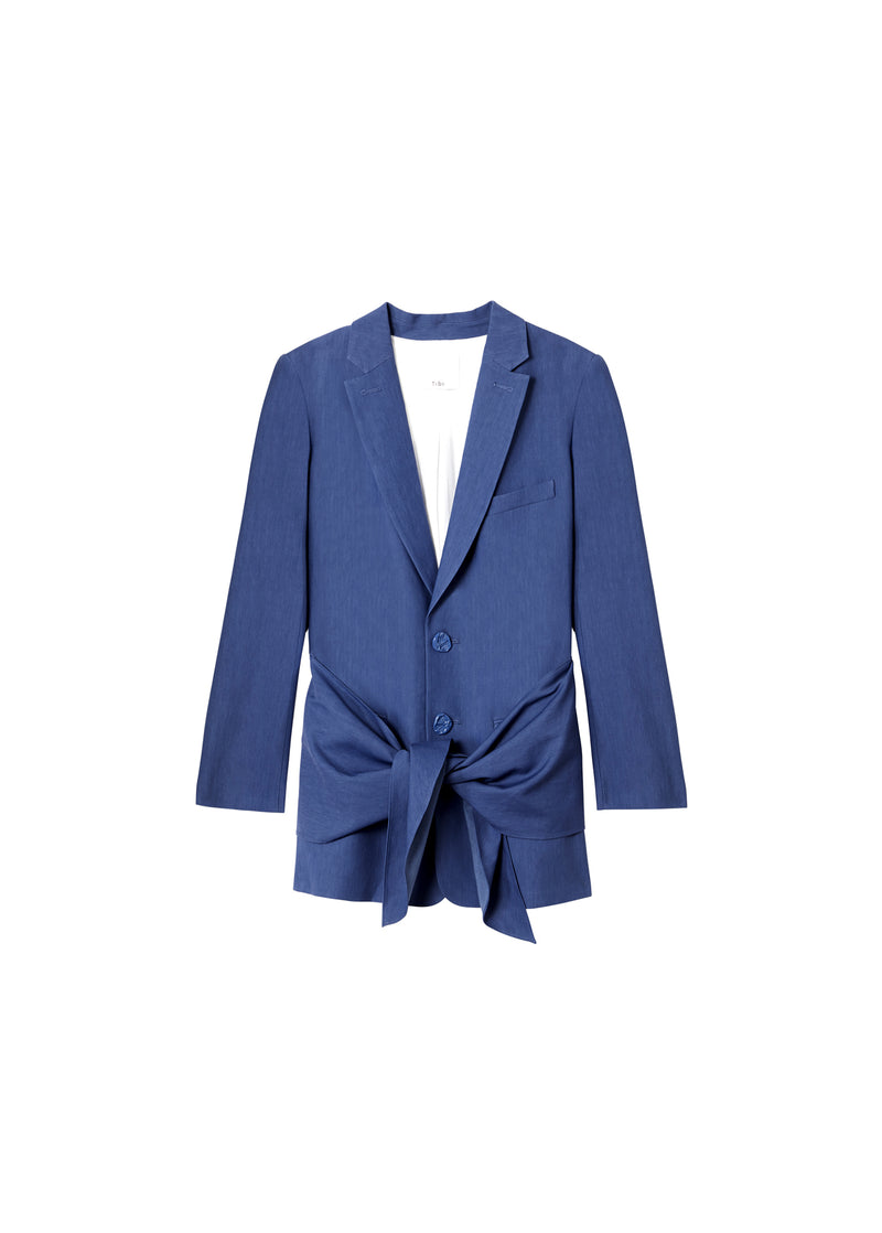 Linen Viscose Long Blazer with Removable Tie Blue-2