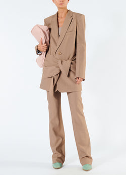 Linen Viscose Long Blazer with Removable Tie Sable Brown-1