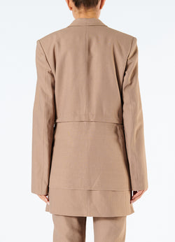 Linen Viscose Long Blazer with Removable Tie Sable Brown-3