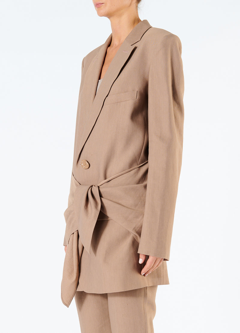 Linen Viscose Long Blazer with Removable Tie Sable Brown-5