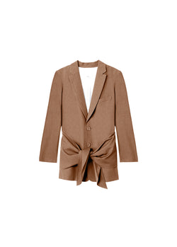 Linen Viscose Long Blazer with Removable Tie Sable Brown-2
