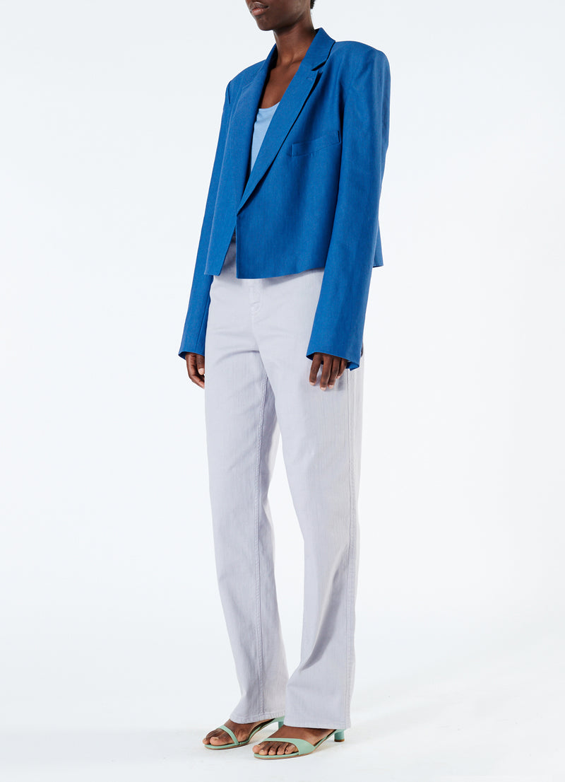 Linen Viscose Cropped Jacket Blue-1