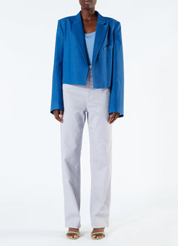 Linen Viscose Cropped Jacket Blue-4