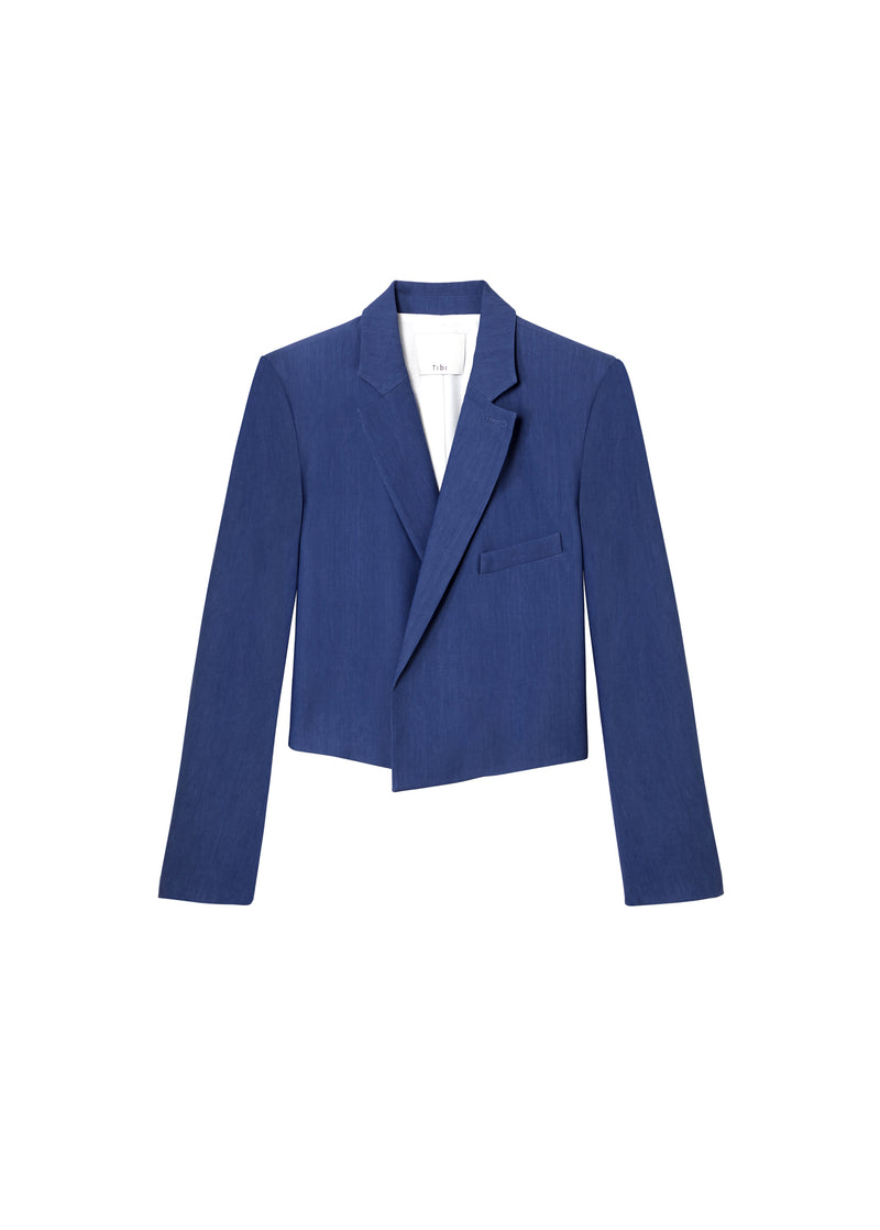 Linen Viscose Cropped Jacket Blue-2