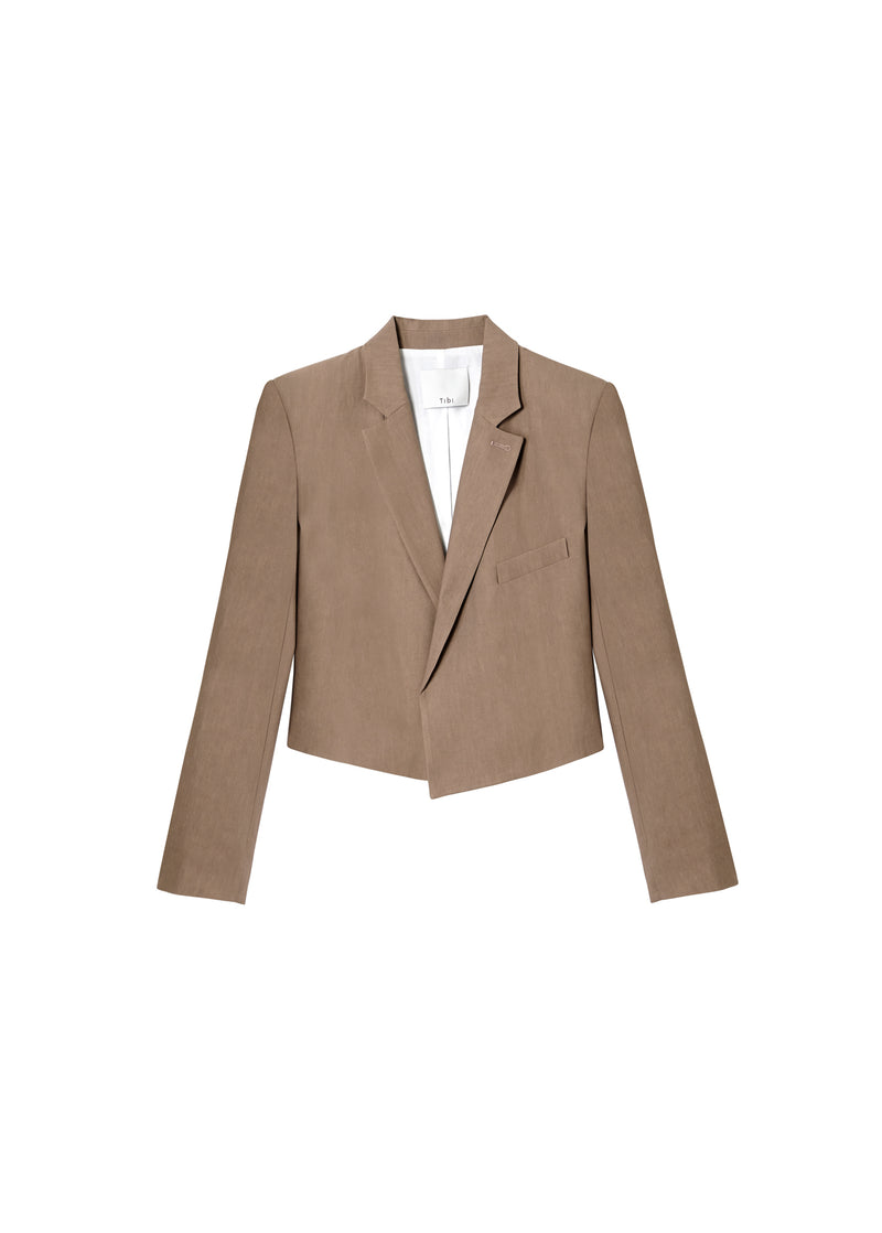 Linen Viscose Cropped Jacket Sable Brown-2