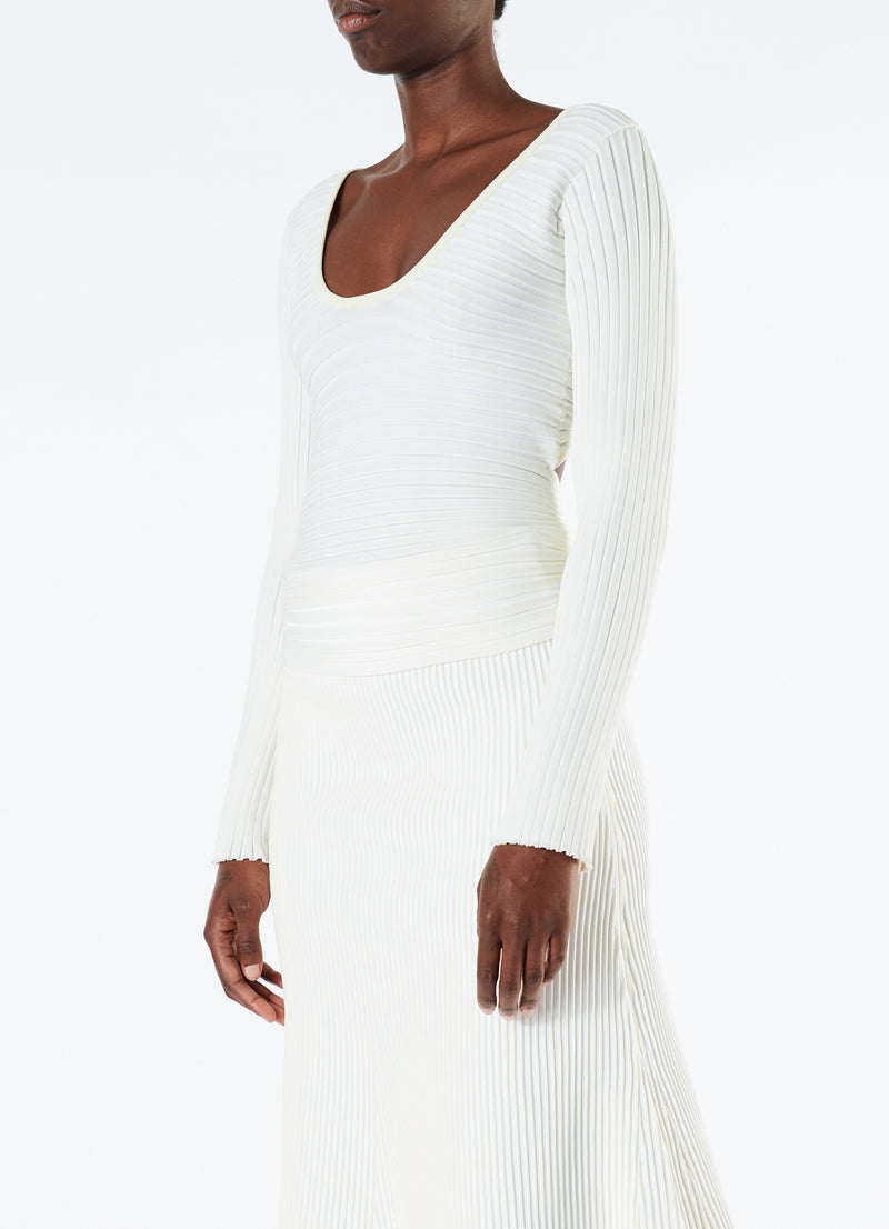 Tech Poly Ribbed Decollette Wrap Sweater Cream Multi-5