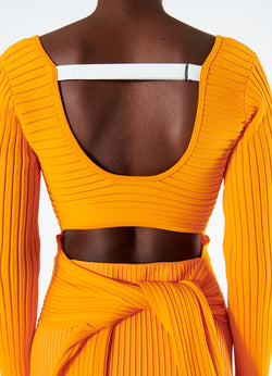 Tech Poly Ribbed Decollette Wrap Sweater Tangerine-8
