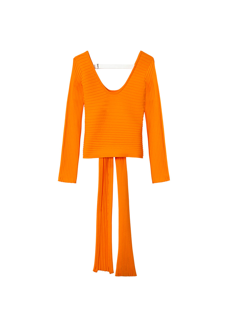Tech Poly Ribbed Decollette Wrap Sweater Tangerine-2