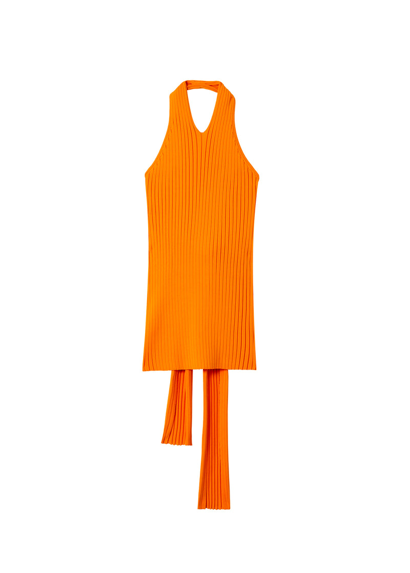 Tech Poly Ribbed Halter Wrap Tank Tangerine-2