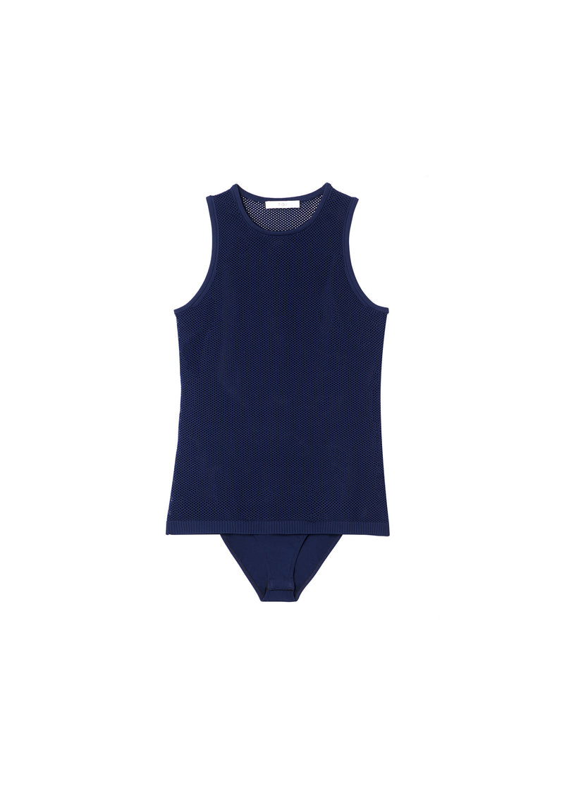 Tech Poly Mesh Bodysuit Navy-2
