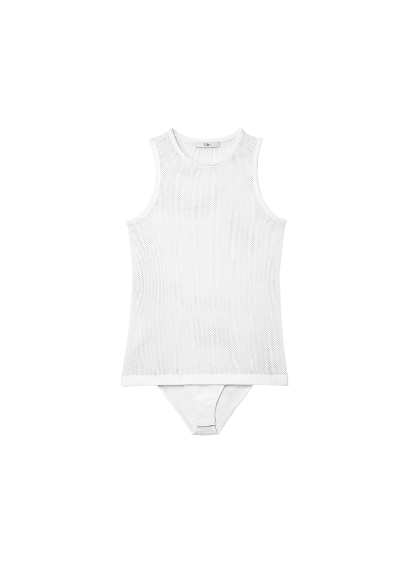 Tech Poly Mesh Bodysuit White-2