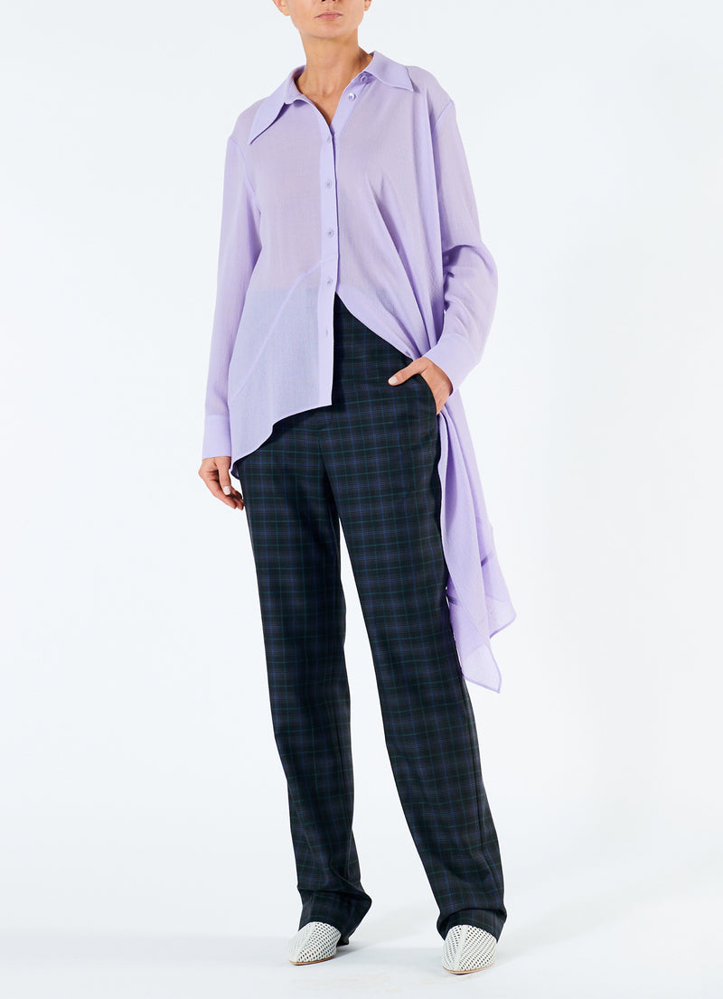 Lightweight Wool Crepe Asymmetrical Shirt Lavender-1