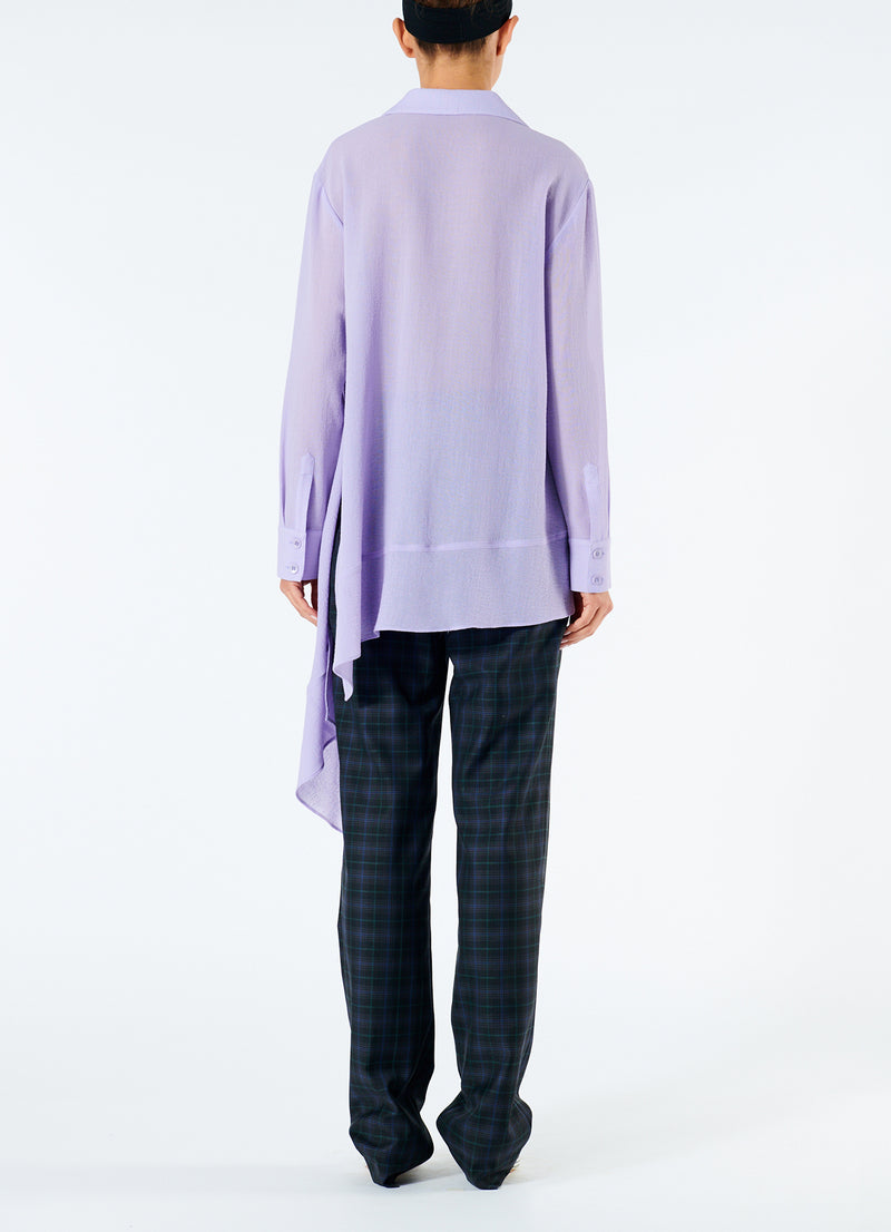 Lightweight Wool Crepe Asymmetrical Shirt Lavender-3