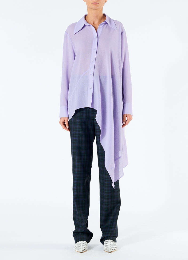 Lightweight Wool Crepe Asymmetrical Shirt Lavender-4