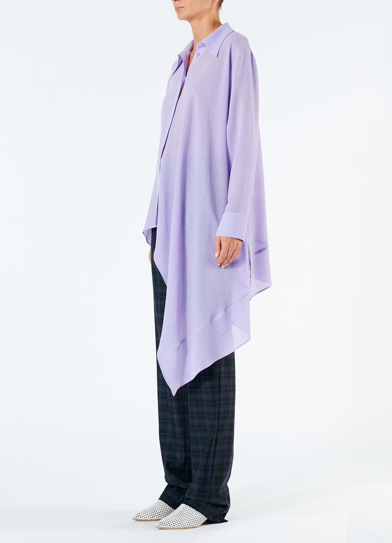 Lightweight Wool Crepe Asymmetrical Shirt Lavender-5