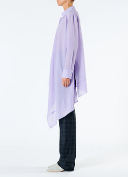 Lightweight Wool Crepe Asymmetrical Shirt Lavender-6
