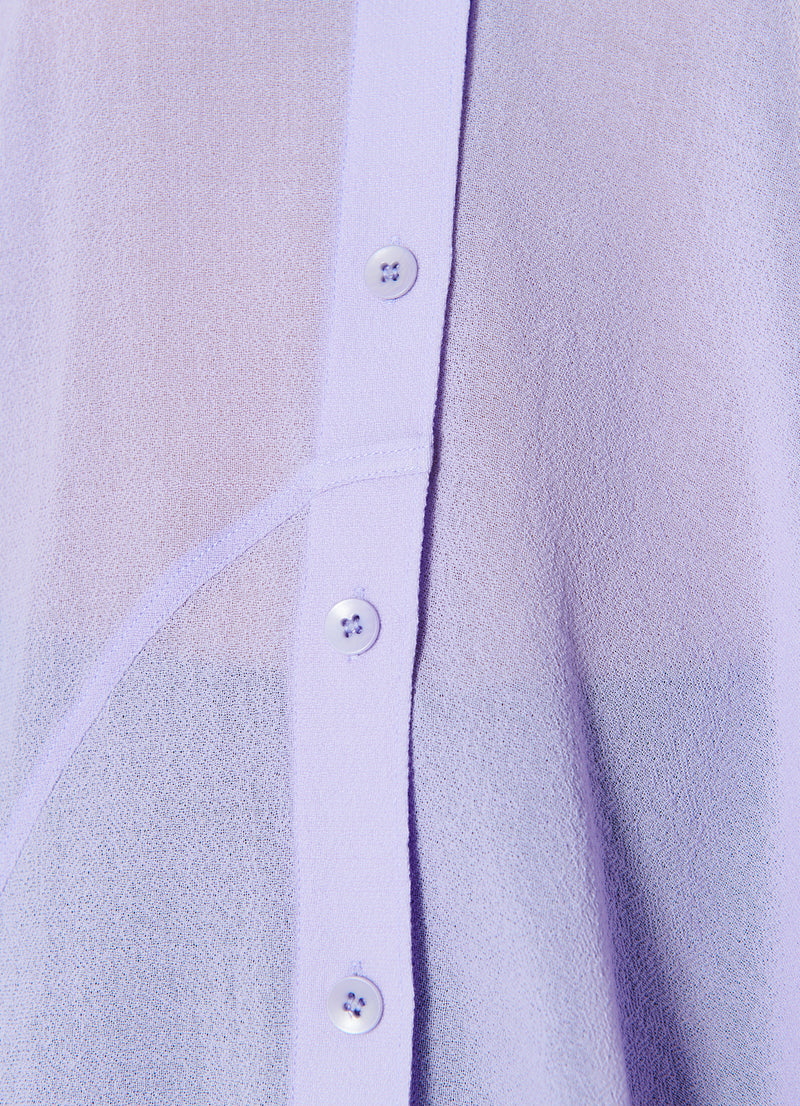 Lightweight Wool Crepe Asymmetrical Shirt Lavender-7
