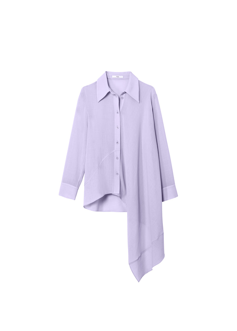 Lightweight Wool Crepe Asymmetrical Shirt Lavender-2