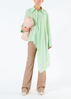 Lightweight Wool Crepe Asymmetrical Shirt Mint-1