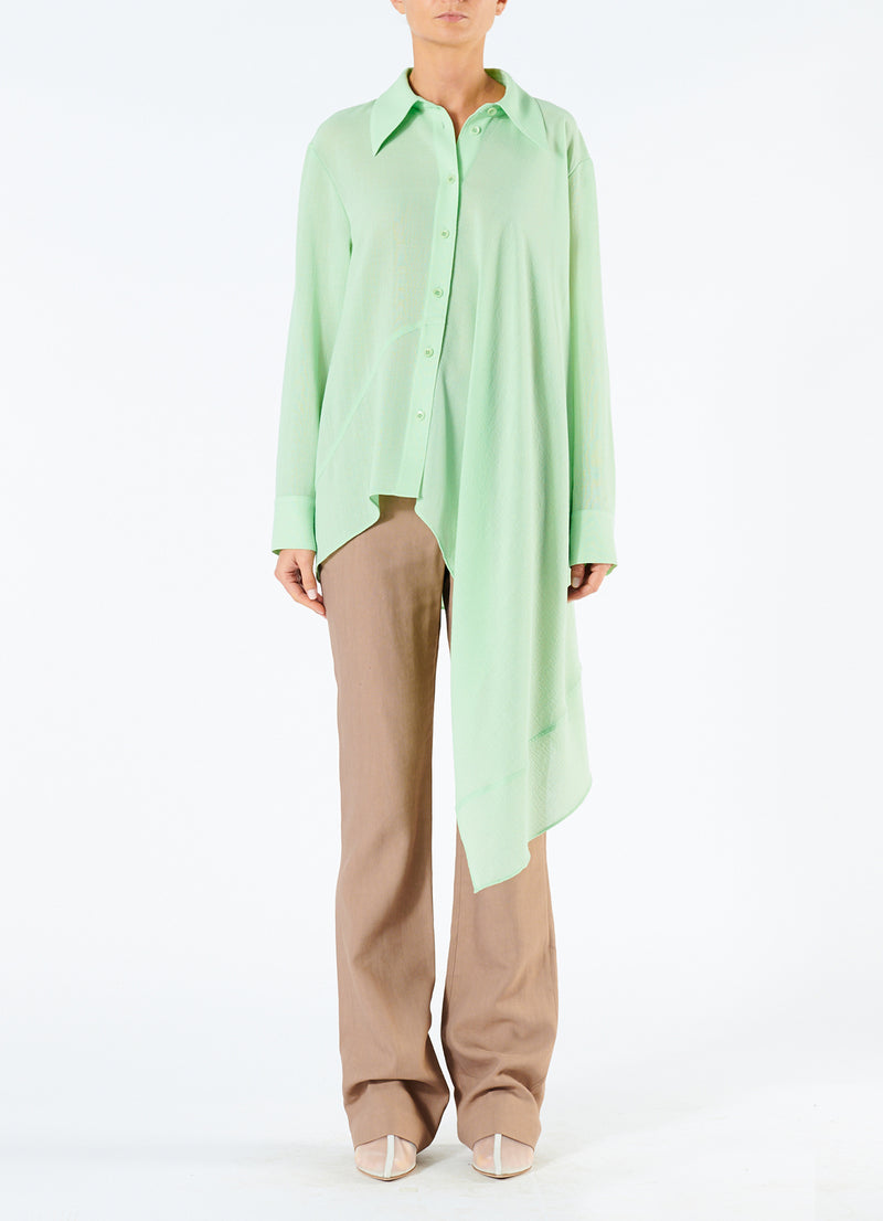 Lightweight Wool Crepe Asymmetrical Shirt Mint-4