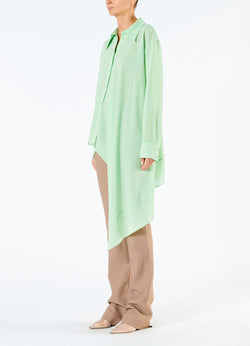 Lightweight Wool Crepe Asymmetrical Shirt Mint-5