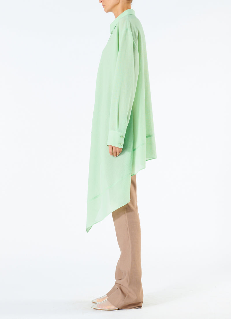 Lightweight Wool Crepe Asymmetrical Shirt Mint-6