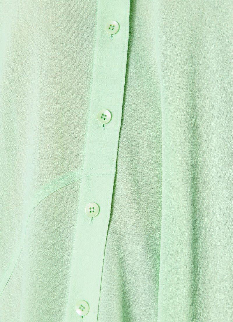 Lightweight Wool Crepe Asymmetrical Shirt Mint-7