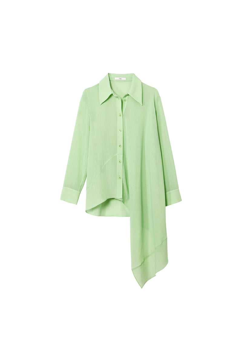 Lightweight Wool Crepe Asymmetrical Shirt Mint-2