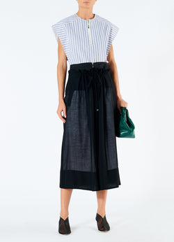 Gauze Overlay Double Waist Skirt Black-1