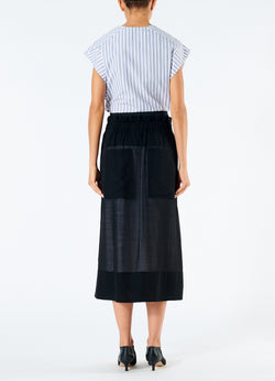 Gauze Overlay Double Waist Skirt Black-3